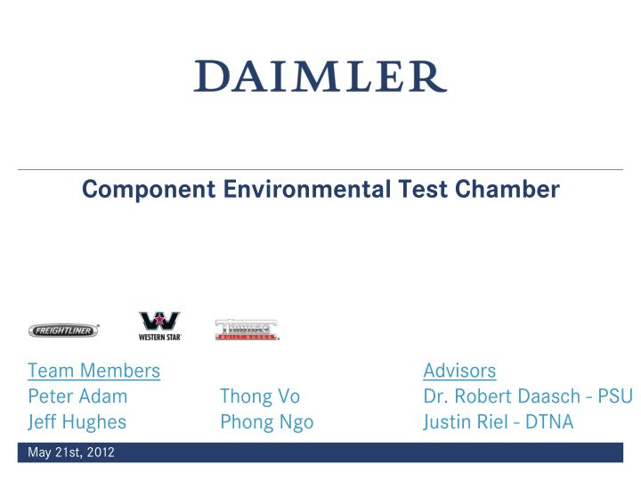 Component Environmental Test Chamber