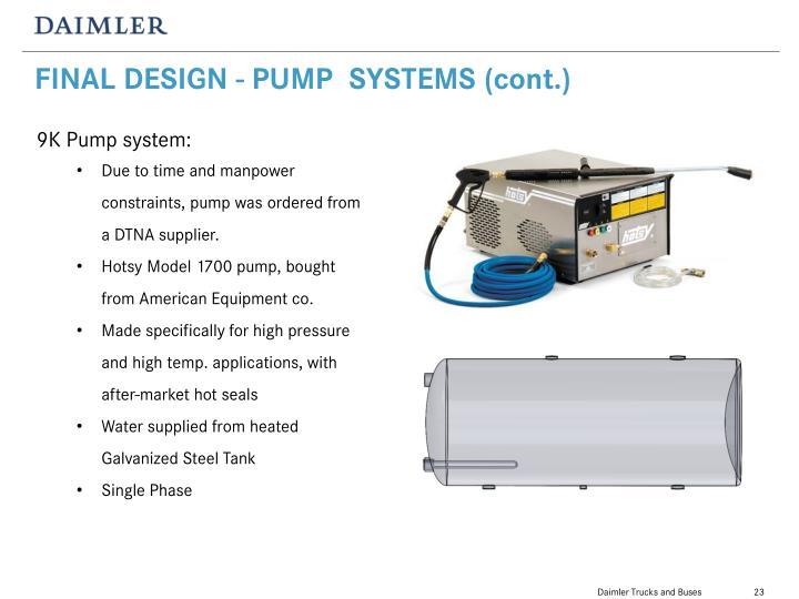 FINAL DESIGN - PUMP  SYSTEMS (cont.)