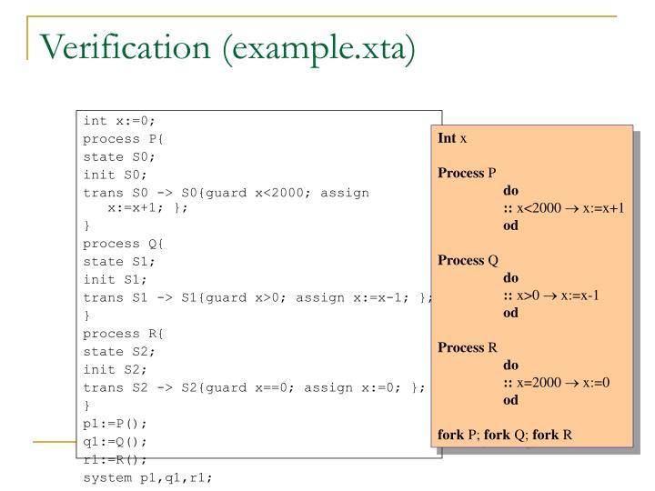 Verification (example.xta)