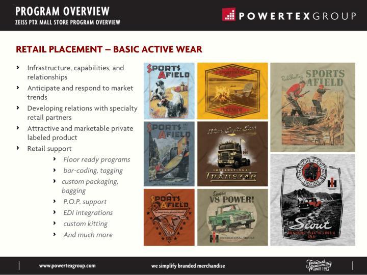 RETAIL PLACEMENT – BASIC ACTIVE WEAR