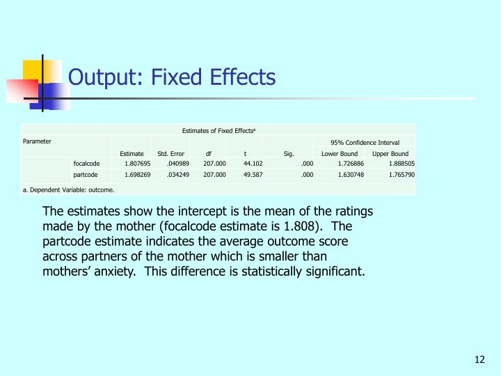Output: Fixed Effects