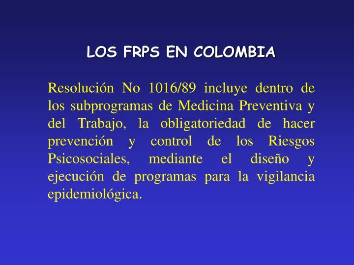 LOS FRPS EN COLOMBIA