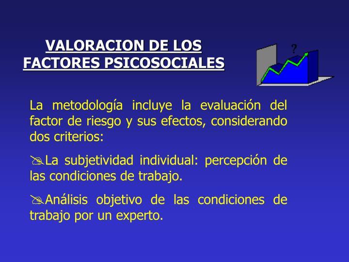VALORACION DE LOS FACTORES PSICOSOCIALES