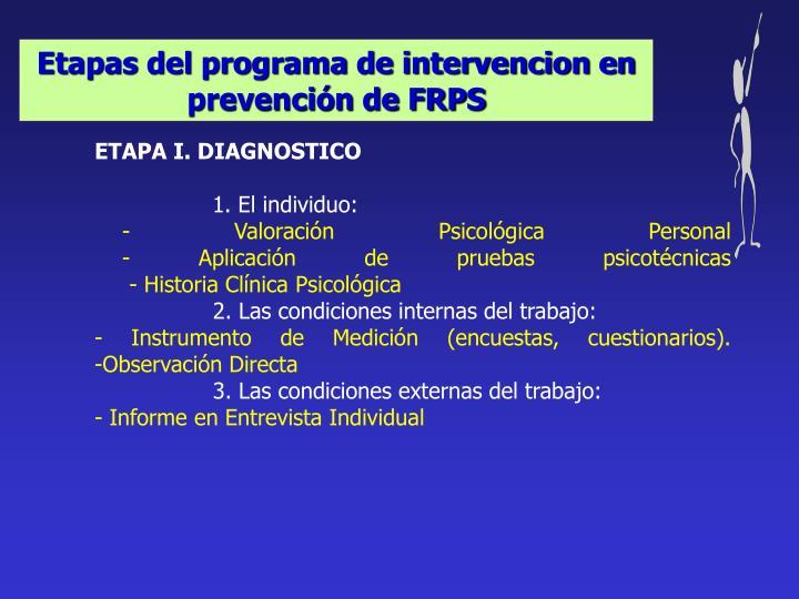 Etapas del programa de intervencion en prevención de FRPS