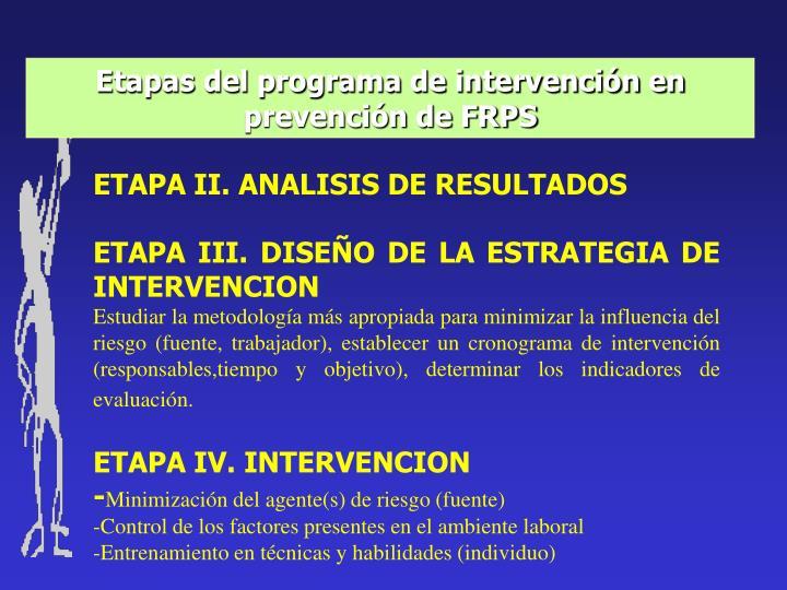Etapas del programa de intervención en prevención de FRPS