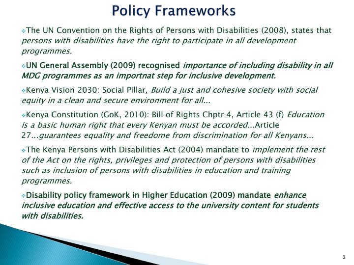 Policy Frameworks