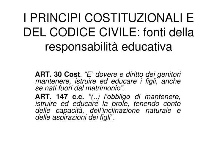 i principi costituzionali e del codice civile fonti della responsabilit educativa