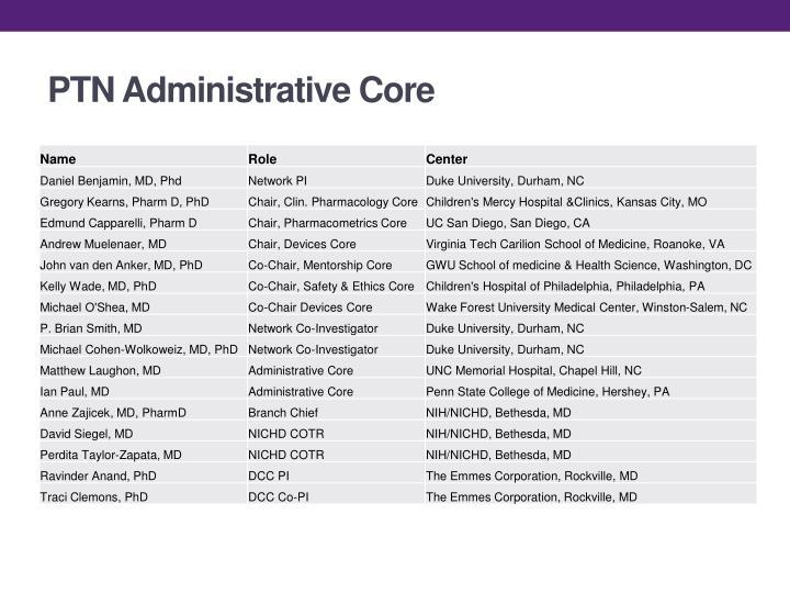 PTN Administrative Core