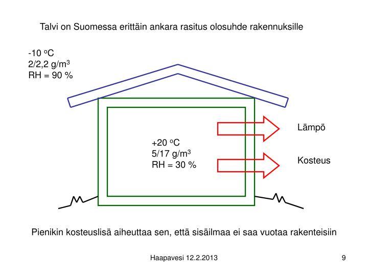 Talvi on Suomessa erittäin ankara rasitus olosuhde rakennuksille