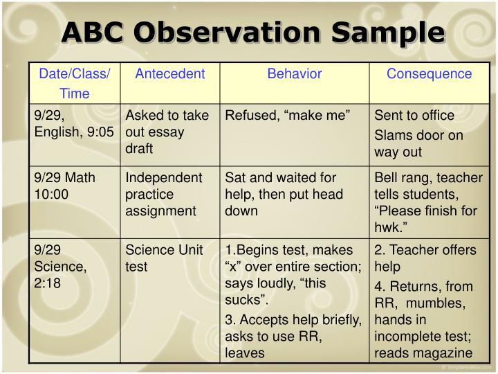 ABC Observation Sample