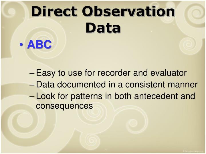 Direct Observation Data
