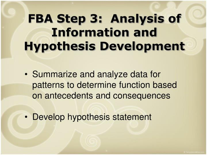 FBA Step 3:  Analysis of Information and Hypothesis Development