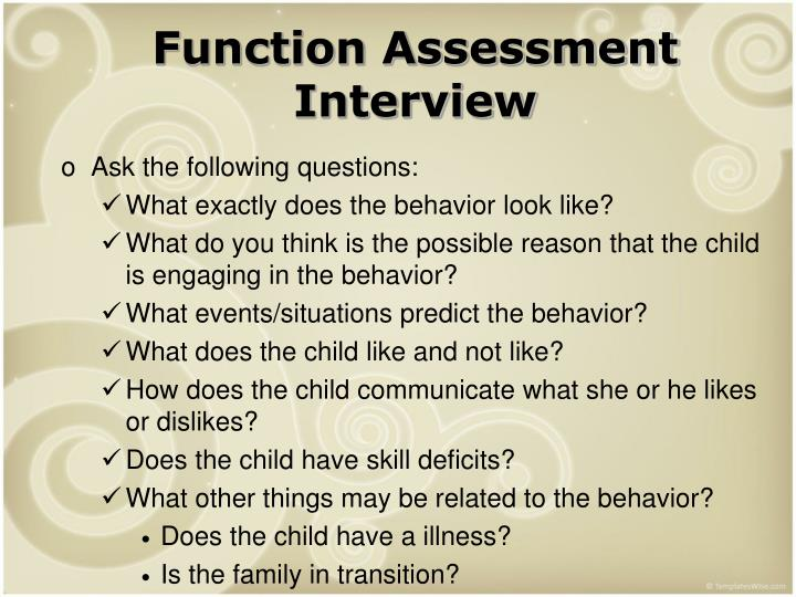 Function Assessment Interview