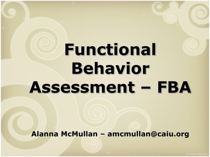 Functional Behavior Assessment – FBA