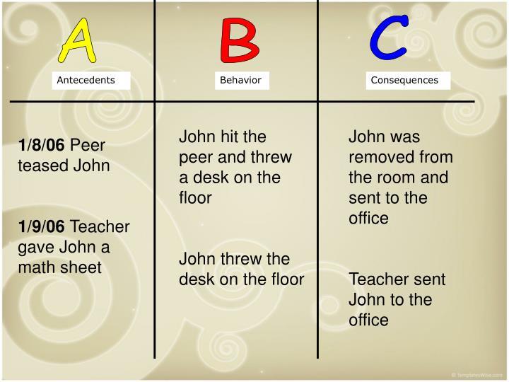 John hit the peer and threw a desk on the floor