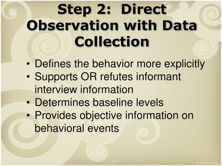 Step 2:  Direct Observation with Data Collection