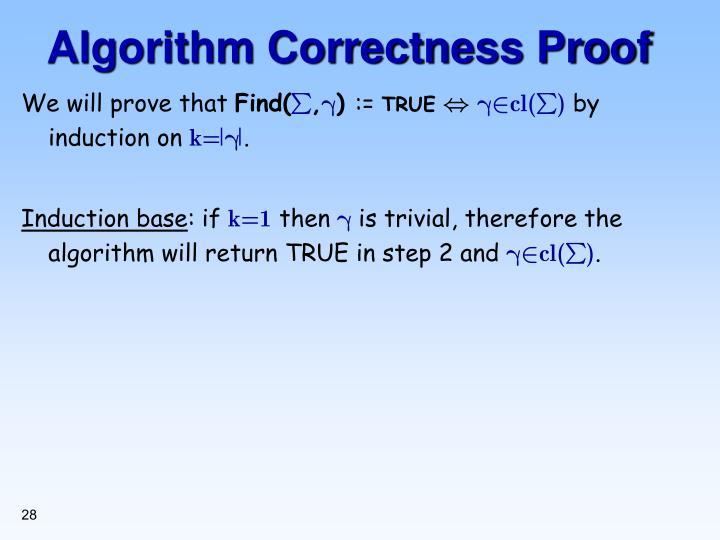 Algorithm Correctness Proof