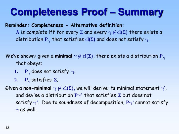 Completeness Proof – Summary