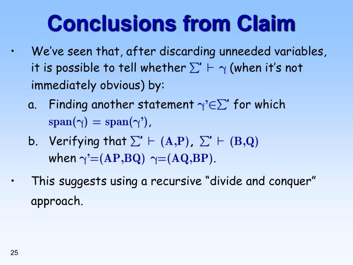 Conclusions from Claim