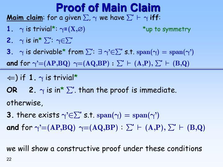Proof of Main Claim