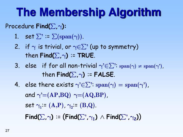 The Membership Algorithm
