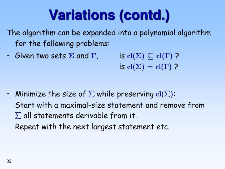 Variations (contd.)