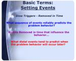 basic terms setting events