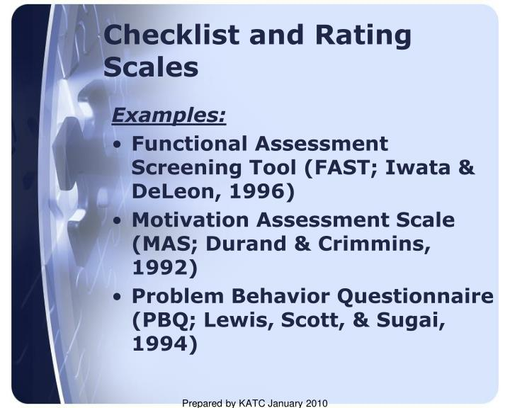Checklist and Rating Scales