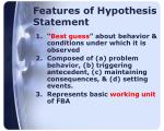 features of hypothesis statement