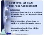 first level of fba indirect assessment