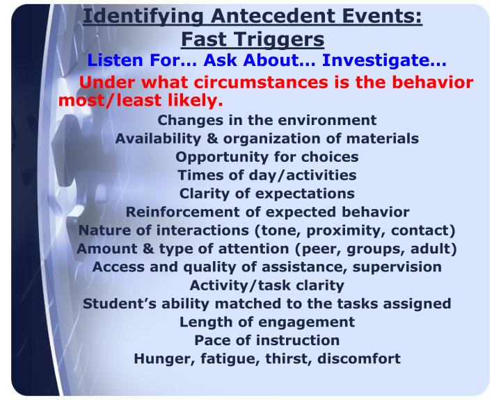 Identifying Antecedent Events: