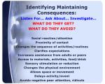 identifying maintaining consequences