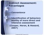 indirect assessment advantages