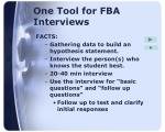 one tool for fba interviews