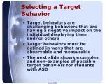selecting a target behavior
