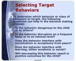 selecting target behaviors