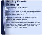 setting events examples