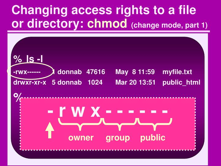 Changing access rights to a file or directory: