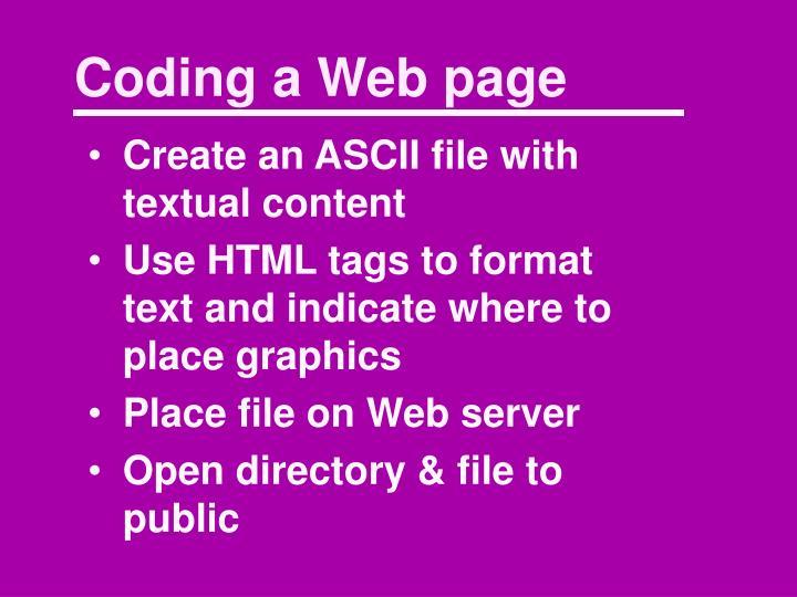 Coding a Web page