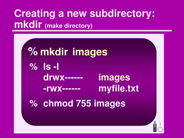 Creating a new subdirectory:
