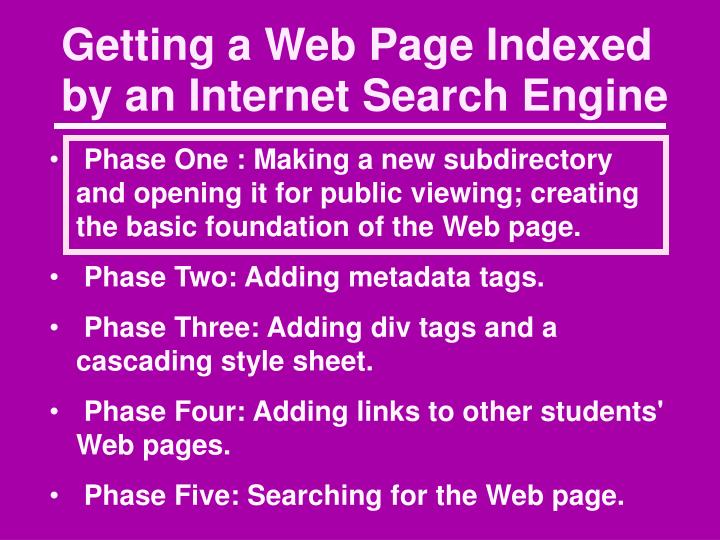 Getting a Web Page Indexed by an Internet Search Engine