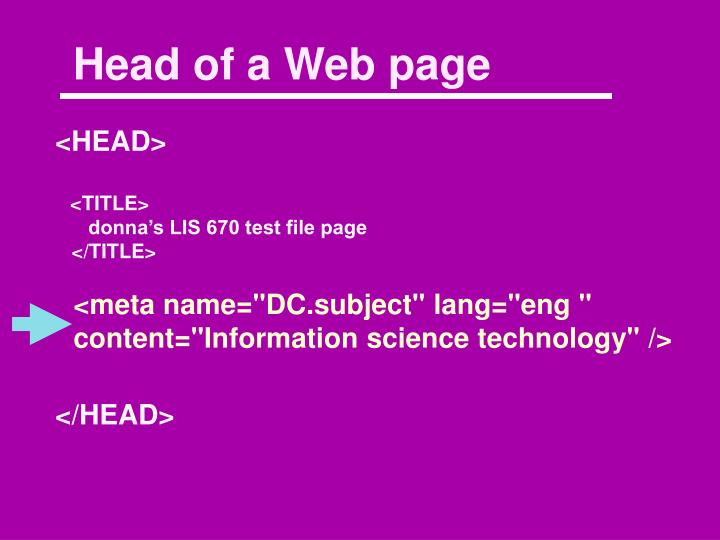 Head of a Web page