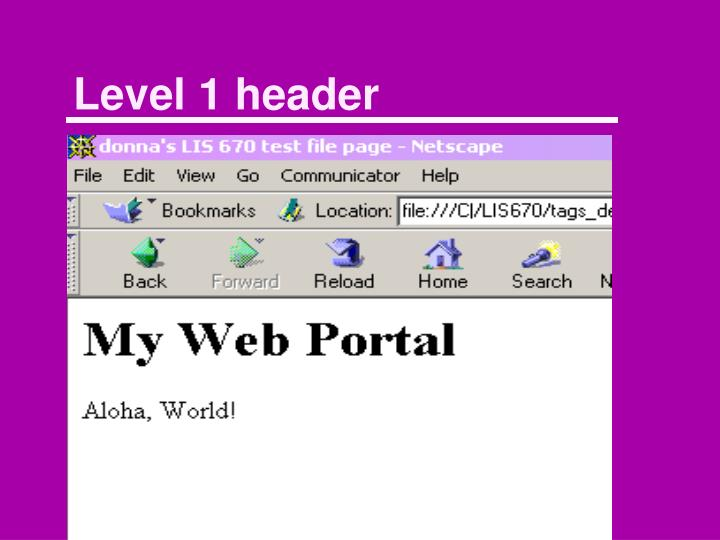 Level 1 header