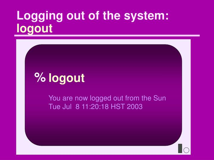 Logging out of the system: