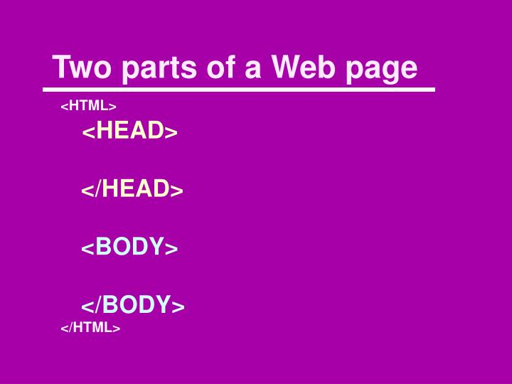Two parts of a Web page