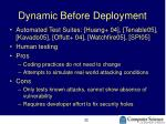 dynamic before deployment