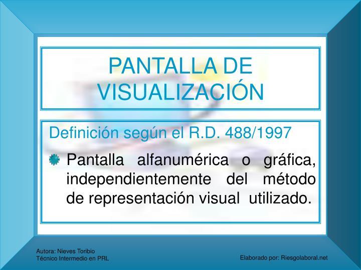 PANTALLA DE VISUALIZACIÓN