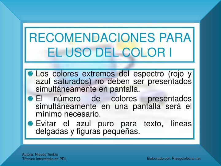 RECOMENDACIONES PARA EL USO DEL COLOR