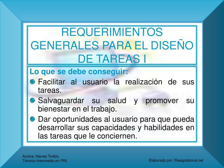REQUERIMIENTOS GENERALES PARA EL DISEÑO DE TAREAS I